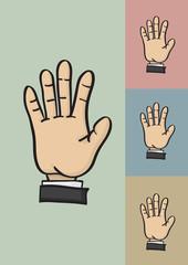 Five Fingers and Palm Hi Five Hand Gesture Vector Illustration