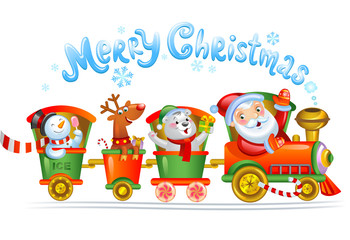 Toy train with reindeer, bear and snowman.