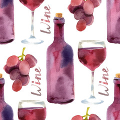watercolor wine seamless