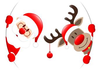 Santa & Rudolph Christmas Bauble Round Banner
