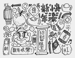 Doodle Chinese New Year BackgroundChinese Word Happy