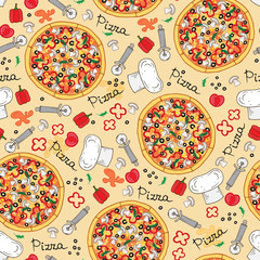Vector pattern with hand drawn pizza and ingredients