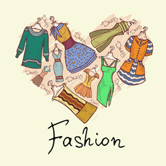 Vector stylized heart with hand drawn dresses