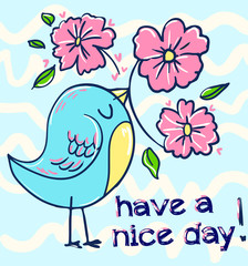 Wall Mural - bird illustration. greeting card. vector bird.