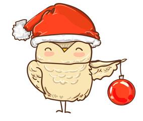 Wall Mural - owl Christmas. owl cartoon