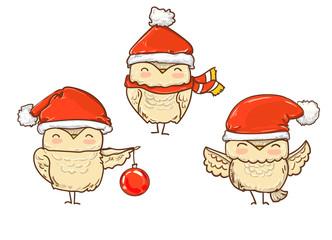 Wall Mural - owl Christmas. owl cartoon. set