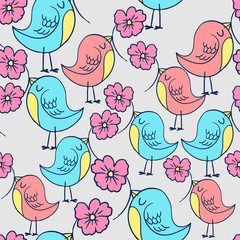 Wall Mural - pattern with bright beautiful birds print