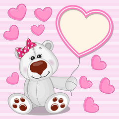Polar Bear with heart frame