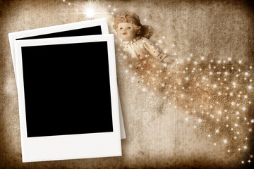 Christmas Card Angel with empty photo frame