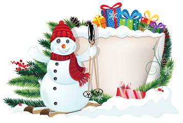 Snowman on skis and Christmas gifts