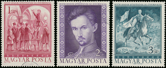 Stamps printed in Hungary shows famous Hungarian poet Sandor Pet