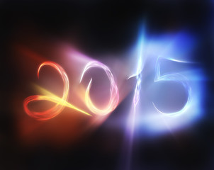 happy new year 2015  massive blend waves with a bright burning