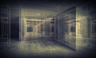 Fototapeta Abstract digital interior 3d background interior