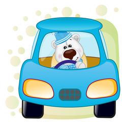 Polar Bear in a car