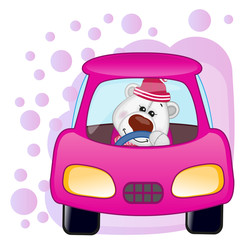 Polar Bear girl in a car