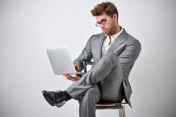 Man With Personal Computer For Business