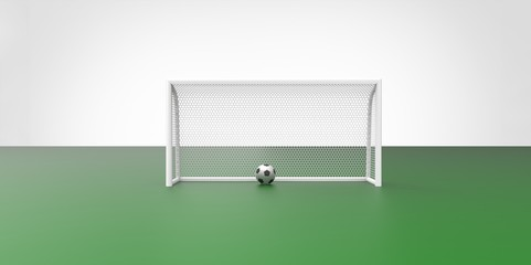 A black and white soccer ball and a goal post