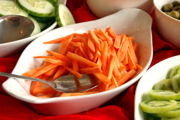 Carrot strips on a bowl