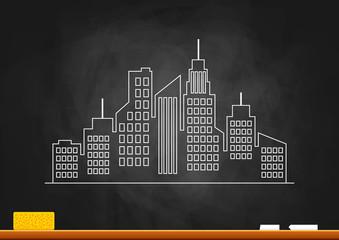 City drawing on blackboard