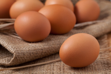 Healthy domestic chiken eggs