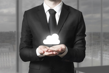 businessman serving gesture internet cloud service