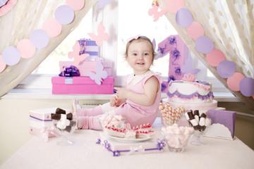 baby girl celebrating first birthday
