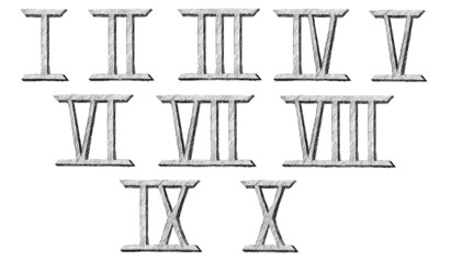 Vector hand drawn Roman numerals