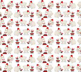 Christmas seamless pattern with sheep in santa cap