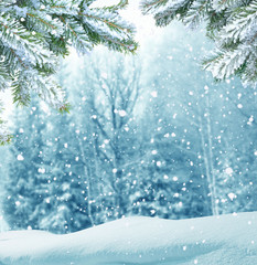 Wall Murals Light blue winter christmas background
