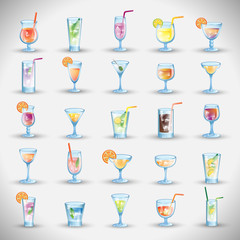 Cocktail Icons Set - Isolated On Gray Background