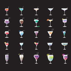 Cocktail Icons Set - Isolated On Black Background