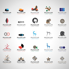 Museum Icons Set - Isolated On Gray Background