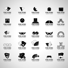 Theatre Icons Set - Isolated On Gray Background - Vector Illustration, Graphic Design, Editable For Your Design