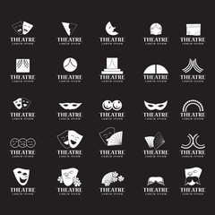 Theatre Icons Set - Isolated On Black Background