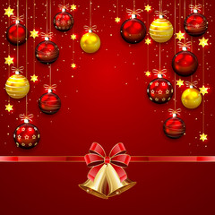 Christmas balls and bells on red background