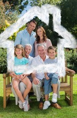 Smiling multi generation family sitting on bench