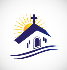 Church with sun logo vector