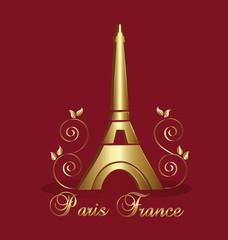 Eiffel Tower Paris-France gold floral vector background