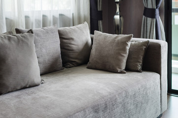 grey pillows on modern sofa