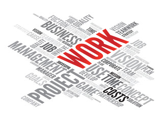 WORK business concept in word tag cloud, vector background