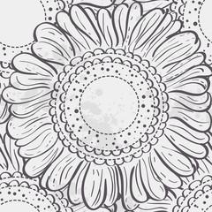 Seamless texture stylized sunflowers.black contour