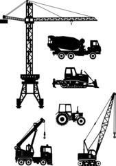 Set of heavy construction machines icons