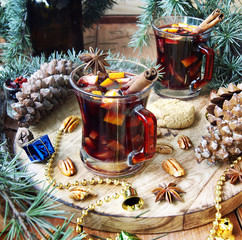 cup of hot mulled wine for Christmas and New Year