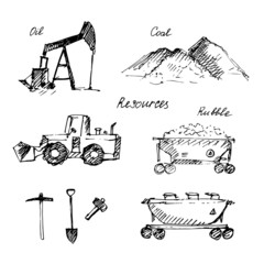 Hand drawn resource extraction and transportation sketch.