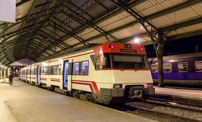 Spanish suburban electric train at French border station Cerbere