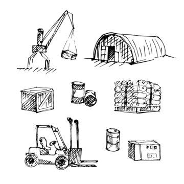 Hand drawn warehouse sketch set.
