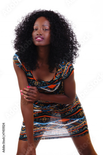 """Attactive Skinny Black Teen Girl Standing In Dress"" Stock"