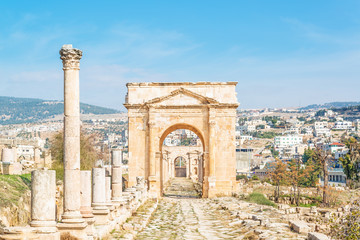 Northern Tetrapylon in modern Jerash, Jordan