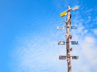 travel traffic sign for USA on blue sky