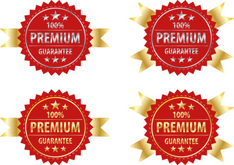 vector premium gold sign and silver sign on red  label templete